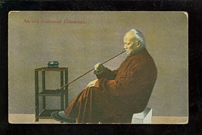 AK An old fashioned China-Man with a long whistle Shanghai 1910