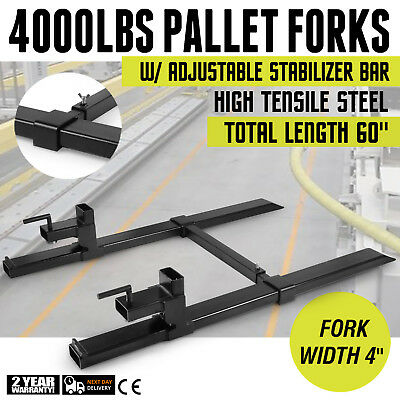 """4000lbs Pallet Forks w/ Stabilizer Bar 43"""" Skidsteer Heavy lifting Protection"""