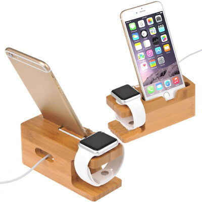 Wood Charging Station Charger Dock Stand Holder For Apple Watch Phone x 1