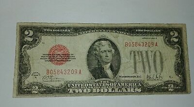 1928 B $2 Dollar Bill Old Us Note Legal Tender Paper Money Currency Red Seal