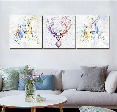 Ancient Deer Elk Animal Painting Abstract Art Print Canvas Wall Decor Set Frame