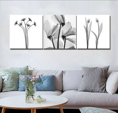 Modern Grey Flowers Oil Painting Abstract Art Print Canvas Wall Decor Set Frame