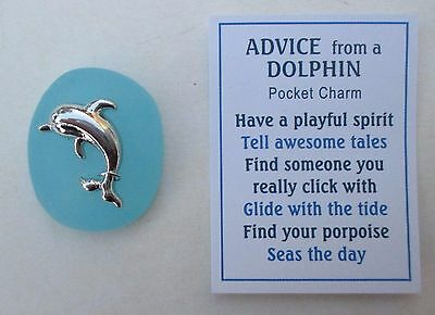 s Turquoise blue jumping Advice from a DOLPHIN Pocket Charm Ganz stone porpoise
