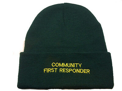 Community First Responder Green Woolly Hat - Paramedic Medic Ambulance