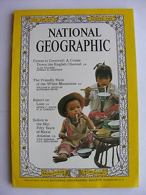 NATIONAL GEOGRAPHIC Aug 1961English Channel Cowes Cornwall Laos Naval Aviation
