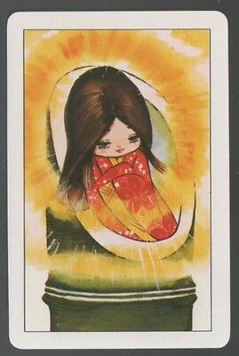 Playing Swap Cards 1 Japanese 1970's Cute Girl In Kimono J101