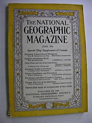NATIONAL GEOGRAPHIC June 1936Yukon Canada Cologne West Point Military Academy