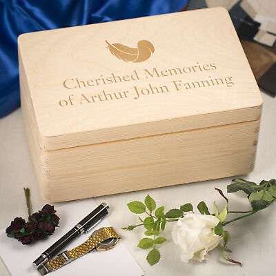 Personalised Laser Engraved Wooden Memory Keepsake Box with Hinged Lid - Feather