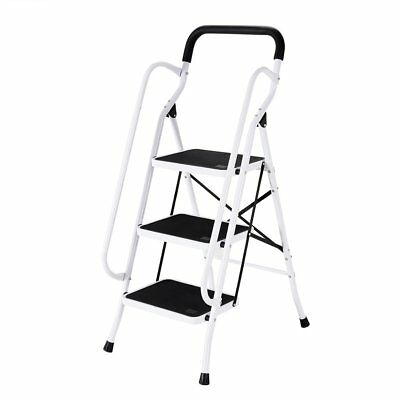 3 Step Ladder Rubber Feet With Handrail Anti-Slip Tread Steel Folding Iron Home