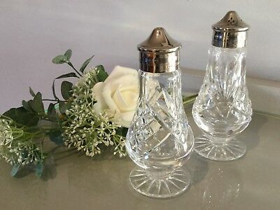 Quality Crystal Cut Glass Salt & Pepper Pedestal Base Silver Plated