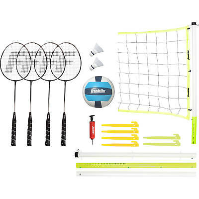 Advanced Badminton + Volleyball Sports Rackets Shuttles Wide Net Poles Set New