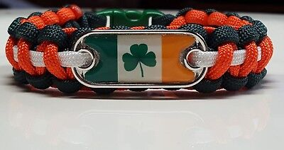 Irish Flag with Clover Leaf Handmade Custom Sized Paracord Bracelet made in USA