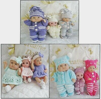 """Three Dolls Knitting Patterns Cardigans And Dress Set For 5&8"""" Berenguer Doll"""