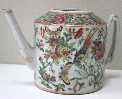 19th Century Chinese Canton Porcelain Famille Rose Teapot Twist Handle