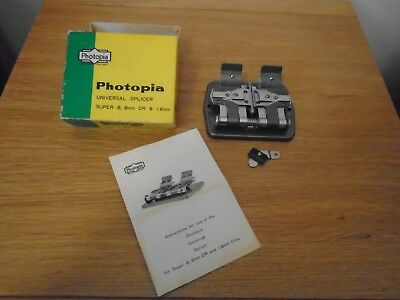 Photopia Universal Splicer &Box/Instr. Super 8, 8mm DR & 16mm Film Photography !