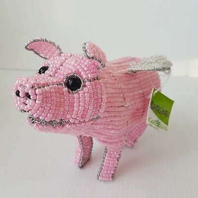 Beadworx Pink Pig Beaded White Winged By Grass Roots Handcrafted by Artisans