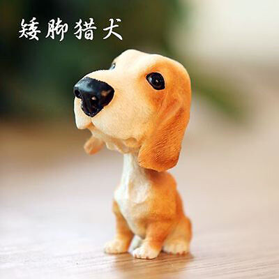 Resin BobbleHead Basset hound Dog Figurine Toy Car Home Ornament Christmas Gift