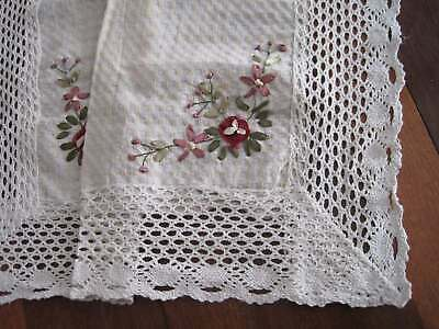 Beautiful Hand Silk Ribbon 3D Flower Embroidery Crochet Lace Table Topper A