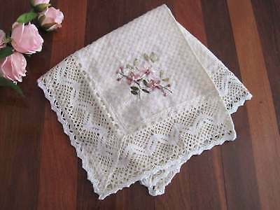 Beautiful Hand Silk Ribbon Flower Embroidery Crochet Lace Table Topper C