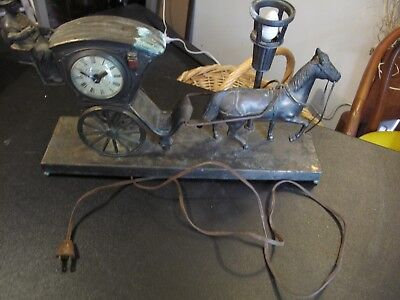 VINTAGE UNITED CLOCK Co Brass Wood Horse Carriage electric mantle Lamp WORKS