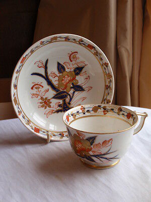Antique Derby Porcelain Red Mark 1800-1820 Hand Painted Tea Cup Saucer
