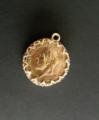 George V Coin Rose Gold Plate Pocket Watch Chain Fob WF1