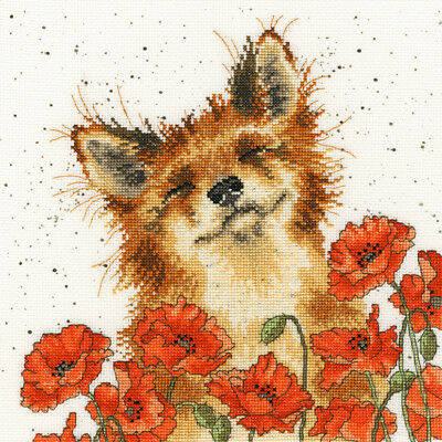 Bothy Threads Hannah Dale Poppy Field Fox Counted Cross Stitch Kit - Xhd33