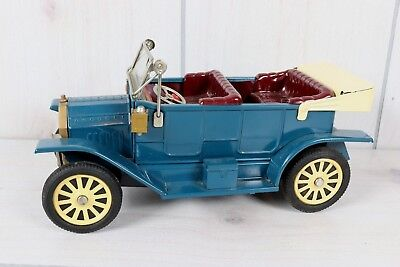 Vintage Tin Friction Toy Car F-1908 Antique T Touring Convertible Made In Japan