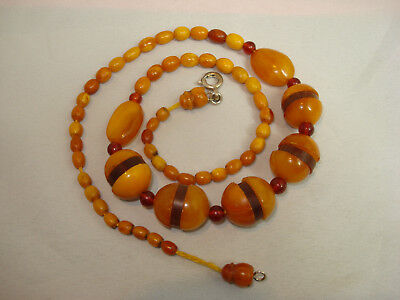 Alte Art Deko Deco Bernstein Kette amber necklace old antik Oliven Butterscotch