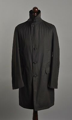 Mens BARBOUR Masters Black Waxed Coat Jacket Tartan Lining S 36 Leather Details