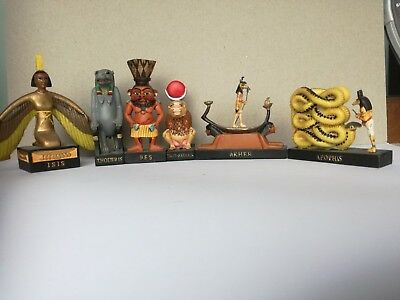 Ancient Egyptian Decor Miniature. Set of statue of six Figures