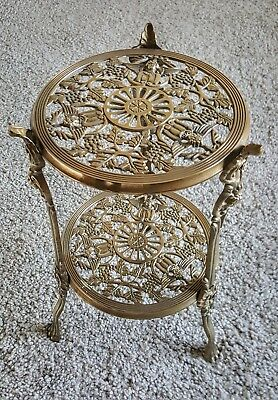 Heavy Antique Solid Brass Two Tier Table Plant Stand Jardinier Winged Cherubs