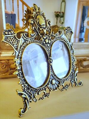 Vintage Solid Brass Double Photo Frame Black and Antique Gold Finish With Glass