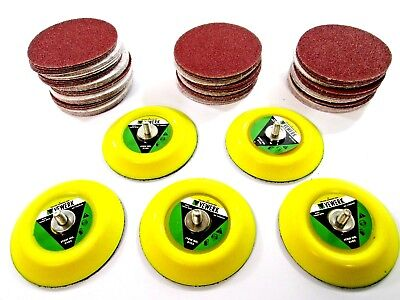 "5x 3"" Hook and Loop Sanding Pad Pads For Air Sander and 100 Mixed Grit Discs"