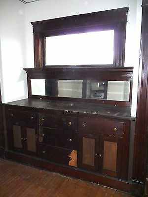 Antique Craftsman Style Built-In Buffet Cabinet - 1910 Fir Architectural Salvage