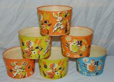 6 Vintage Easter Bunny Ducks Chicks Wax Cottage Cheese Containers Basket