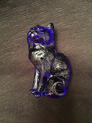 Mosser Glass ~ Cat Kitten Figurine ~ Cobalt Blue