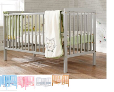 Baby Cot 120x60cm Crib With Free Mattress, 3 colours!