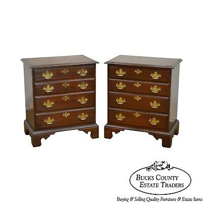 Harden Chippendale Style Pair of Solid Cherry Chests Nightstands