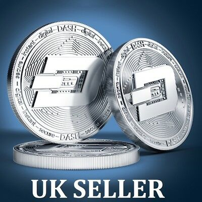 Silver Plated Dash Coin Commemorative Physical Collectible Coin Collection UK