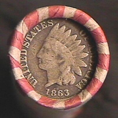 50  MIX-INDIAN HEAD & WHEAT CENT ROLL-1863 CN IH / IH ENDs- 1859 to1958 MIX