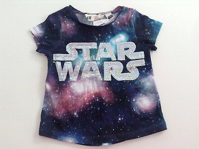 BNWT H&M Girls Star Wars Galaxy Print Tee - Size 18-24 Months