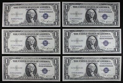 Lot of Six $1 1935B UNC silver certificates one dollar, series B, FREE SHIPPING