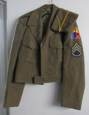WWII US Army 1st Armour Division IKE JACKET and hat in original Decent Condition