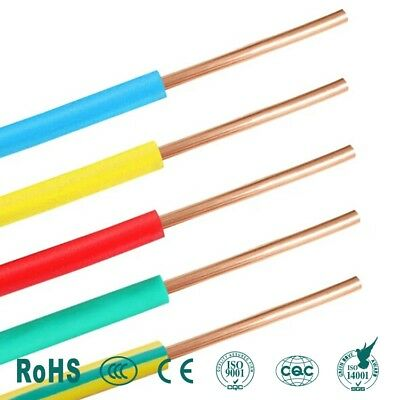 Single Core SOLID Electrical Cable Copper Wire Wiring Conduit Length Colour