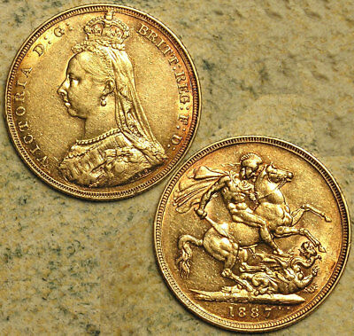 Great Britain: 1887 Queen Victoria Jubilee-Head Gold Sovereign