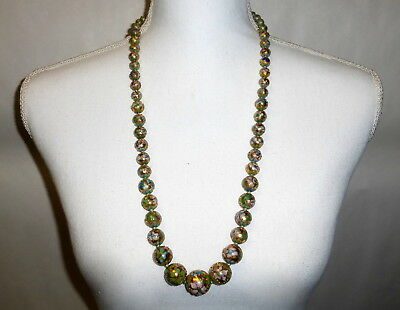 "Antique Chinese Champleve Cloisonne Graduated Beads on Gold Foil 30"" Necklace"
