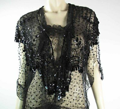 Fine Circa 1915 Beaded And Sequined Silk Tulle Mantle