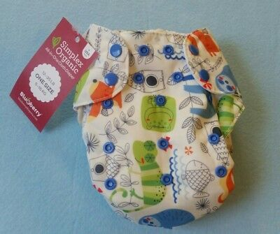 NWT Blueberry Simplex Organic AIO cotton cloth diaper OS
