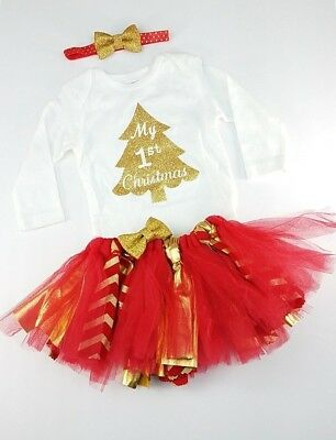 Baby Girls Christmas Outfit  6 Mo My First Christmas Handmade 3 Piece Set Tulle